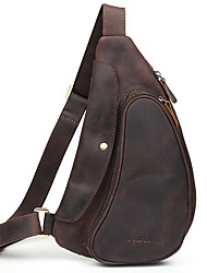 Men Bags Spring Summer Fall All Seasons Cowhide Sling Shoulder Bag for Casual Sports Outdoor Brown