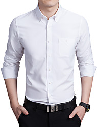 Men's Daily Plus Size Work Casual Fall Shirt,Solid Shirt Collar Long Sleeves Cotton Polyester Thin