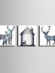 cheap -Animals European Style, Three Panels Canvas Square Print Wall Decor Home Decoration
