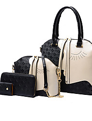 cheap -Women Bags Cowhide Bag Set 4 Pieces Purse Set for Formal Outdoor All Seasons White Black