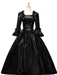 cheap -Victorian Rococo Costume Women's Party Costume Masquerade Black Vintage Cosplay Lace Cotton Floor Length