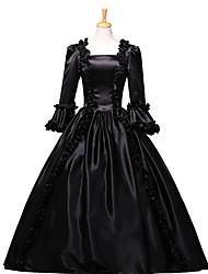 billige -Victoriansk Rokoko Kostume Dame Festkostume Maskerade Sort Vintage Cosplay Blonde Bomuld Gulvlang