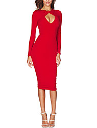 cheap -Women's Cut Out Going out Sexy Sheath DressSolid V Neck Knee-length Long Sleeve Polyester Fall / Winter Mid Rise