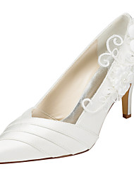Women's Heels Spring / Fall  Stretch Satin Wedding / Party & Evening / Dress Stiletto Heel Applique Ivory / White