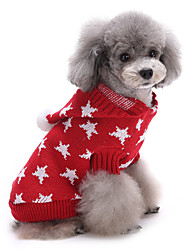 cheap -Cat Dog Sweater Christmas Dog Clothes Cute Keep Warm Stars Red Blue Costume For Pets