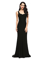 cheap -Mermaid / Trumpet Scoop Neck Sweep / Brush Train Jersey Formal Evening Dress with Lace by TS Couture®