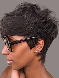 cheap -Short Natural Wave Pixie Cut With Bangs Machine Made Human Hair Wigs Short Dark Black Medium Auburn