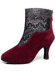 Scarpe da ballo-Personalizzabile-Da donna-Balli latino-americani / Stivali di danza-A stiletto-Vellutato-Nero / Rosso / Cioccolato