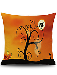 cheap -Halloween Tree Witch Square Linen  Decorative Throw Pillow Case  Cushion Cover