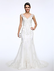 cheap -Mermaid / Trumpet V-neck Court Train Lace Wedding Dress with Beading Appliques Button by LAN TING BRIDE®