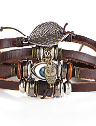 cheap -2016 New Fashion Vintage Bracelets Bangles Jewelry Evil Eye Owl Leather Bracelet Beads Weave for Men