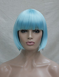 Quality Synthetic Hair Light Blue Anime Cosplay Costume Short BOB Wig
