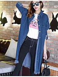 Giacche di jeans Da donna Casual Autunno Semplice,Tinta unita Rotonda Altro Blu Manica lunga