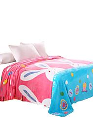 bedtoppings cobertor de flanela fleece coral queen size 200x230cm coelho impressões 210gsm