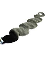 baratos -Com Adesivo Extensões de cabelo humano Onda de Corpo 20pcs / Pacote 40pcs / pack 16 polegadas 18 polegadas 20 polegadas 22 polegadas 24