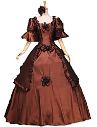 Victorian Rococo Women's One-Piece/Dress Brown Cosplay Lace Cotton Bell Floor Length
