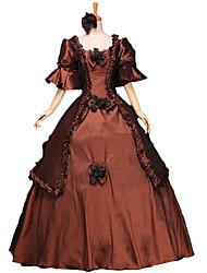 Victorien Rococo Costume Femme Costume de Soirée Bal Masqué Marron Vintage Cosplay Dentelle Coton Cloche Longueur Sol