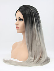 cheap -Synthetic Lace Front Wig Straight Natural Hairline Ombre Hair Lace Front Women's Black Carnival Wig Halloween Wig Natural Wigs