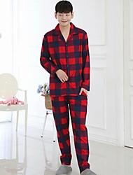 cheap -Men's Shirt Collar Suits Pajamas Plaid
