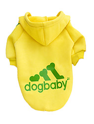 cheap -Dog Hoodie Dog Clothes Solid Colored Gray Yellow Red Black Cotton Costume For Pets Men's Women's Fashion