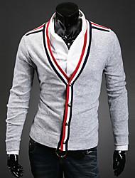 Normal Cardigan Homme Décontracté / Quotidien simple,Couleur Pleine Noir Gris Col en V Manches Longues Autres Automne Hiver Moyen