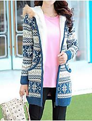 Women's Casual/Daily Cute CoatPrint Hooded Long Sleeve Fall / Winter Blue / Red / Black Faux Fur Thick Fleece Coat