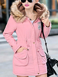 New Arrival  Women's Long Padded CoatSimple Casual/Daily Solid-Polyester Polyester Long Sleeve Hooded Blue / Pink / Red