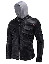 cheap -Hight Quality Men's Daily Casual Leather JacketsSolid Hooded Long Sleeve Spring / Winter Black PU / Cotton Thick