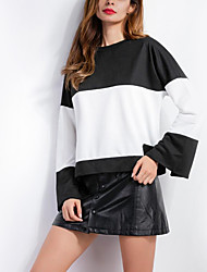 Women's Casual/Daily Simple Regular HoodiesColor Block Black Round Neck Long Sleeve Cotton
