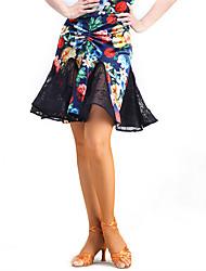 cheap -Latin Dance Tutus & Skirts Performance Lace Velvet Lace Natural Skirt