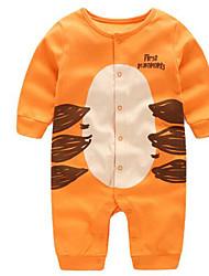 abordables -bébé Chemisier Unisexe Quotidien Coton Printemps Automne Manches 3/4 Dessin Animé Noir Orange Gris