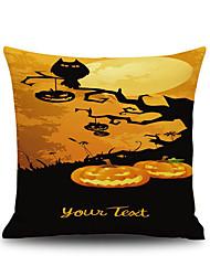 Halloween Pumpkin Tree 1 Square Linen Decorative Throw Pillow Case Cushion Cover
