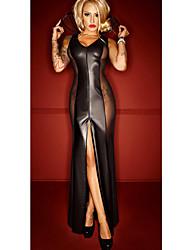Ženy Ultra sexy Noční prádlo,Sexy Patchwork-Střední Polyuretanová kůže Černá