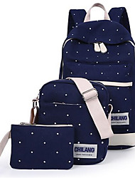 Women Bags Canvas Bag Set 3 Pcs Purse Set for Casual Red Blue