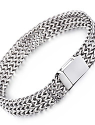 cheap -Men's Stainless Steel Chain Bracelet - Fashion Geometric Silver Bracelet For Christmas Gifts Party Anniversary