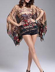 billige -Dame Trykt mønster Bluse Polyester