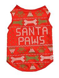 cheap -Cat / Dog Vest Dog Clothes Bone Red Cotton Costume For Pets Men's / Women's Christmas