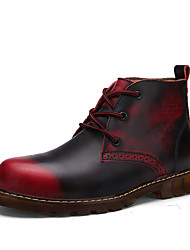 Men's Shoes Leather Spring Fall Fashion Boots Boots Lace-up For Casual Black Dark Blue Light Brown Burgundy