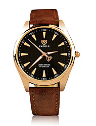 cheap -Men's Quartz Wrist Watch Noctilucent Luminous Leather Band Casual Dress Watch Fashion Black Brown