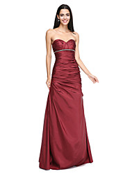 A-Line Sweetheart Floor Length Taffeta Bridesmaid Dress with Beading Crystal Detailing Side Draping Criss Cross by LAN TING BRIDE®