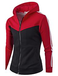 Для мужчин Спорт Активный толстовка с капюшоном куртки Контрастных цветов Полоски Слабоэластичная Хлопок Длинный рукав Осень зима