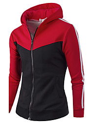 preiswerte -Herren Hoodie-Jacke Sport Aktiv Einfarbig Gestreift Mikro-elastisch Baumwolle Langarm Herbst Winter