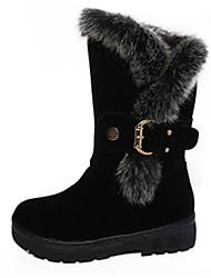 baratos -Mulheres Sapatos Couro Ecológico Inverno Outono Botas da Moda Conforto Botas Sem Salto Ponta Redonda para Casual Preto Vermelho