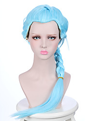 Death Parade Nona Girl's Long Braid Light Sky Blue Color Anime Cosplay Wigs with Ponytail Heat Resistant Wig