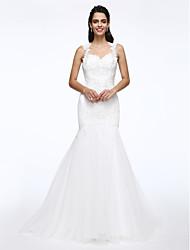 A sirena Regina Anna Strascico di corte Di pizzo Tulle Vestito da sposa con Perline Perle Con applique di LAN TING BRIDE®
