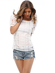 cheap -Women's Daily Casual Summer T-shirt,Solid Round Neck Short Sleeves Polyester Medium