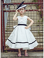 Ball Gown Tea Length Flower Girl Dress - Polyester Lace Sleeveless V-neck with Ribbon