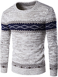 cheap -Men's Daily Going out Holiday Casual Regular Pullover,Color Block Round Neck Long Sleeves Wool Winter Fall Thick Micro-elastic