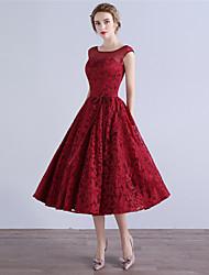 A-Line Illusion Neckline Tea Length Lace Cocktail Party Homecoming Dress with Bow(s) by MYF