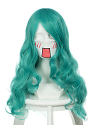 Sailor Moon Sailor Neptune Mixed Light Blue Long Curly Halloween Wig Synthetic Wigs Costume Wig